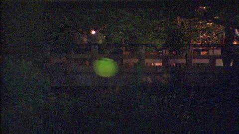 stockvideo's en b-roll-footage met fireflies glimmer as pedestrians walk across a bridge. - vuurvliegje