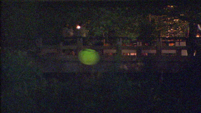 fireflies glimmer as pedestrians walk across a bridge. - 蛍点の映像素材/bロール