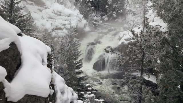 ws firehole river canyon in winter, yellowstone national park, wyoming, usa - yellowstone river stock videos and b-roll footage