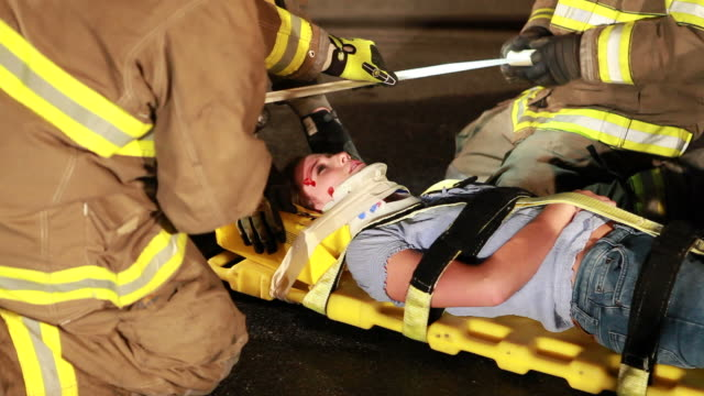 fireman at rescue - stretcher stock videos and b-roll footage
