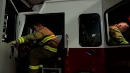 Fireman Getting In Fire Truck