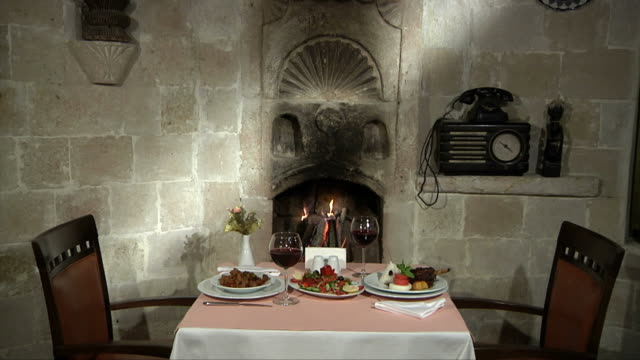 Fireplace and Dinner