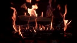 Fireplace burning with real wood