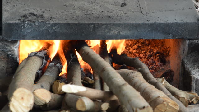 fireplace full of wood and fire - full hd format stock videos & royalty-free footage