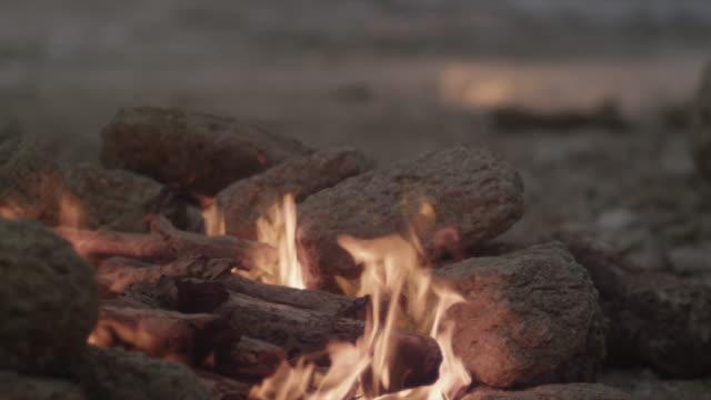 vídeos de stock, filmes e b-roll de fireplace lights up. - firewood