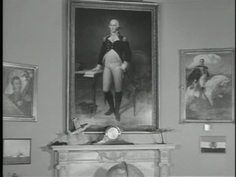 fireplace wall in oval office art collection unidentified painting george washington in uniform simon bolivar by tito salas ws washington vs cabinet... - george washington painting stock videos and b-roll footage