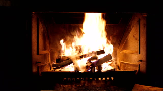 fireplace with fire burning - fireplace stock videos & royalty-free footage