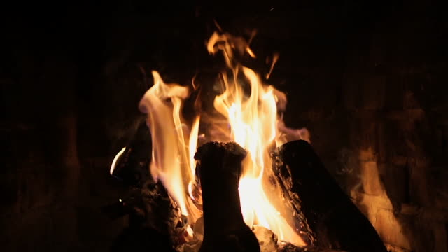 fireplace with fire in slow motion - silvestre stock-videos und b-roll-filmmaterial