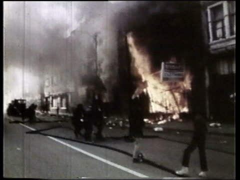 wgn fires during the riots - martin luther king stock videos and b-roll footage