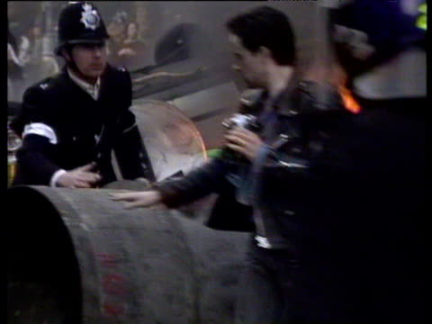 fires in london's west end after riots 1990 poll tax demonstrations 31 mar 90 - 1990 stock videos & royalty-free footage