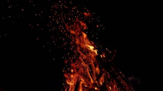 slo mo ld ved brinner i en lägereld på kvällen - vedbrasa bildbanksvideor och videomaterial från bakom kulisserna