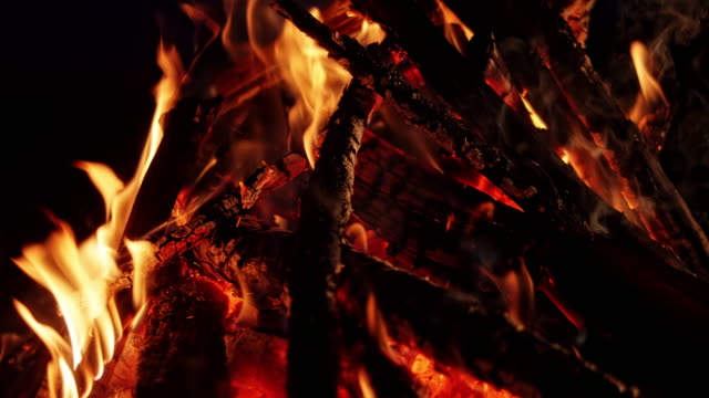 slo mo firewood burning in the campfire at night - firewood stock videos & royalty-free footage