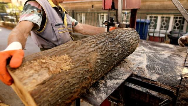 vídeos de stock e filmes b-roll de firewood.preparation for the winter - afiar