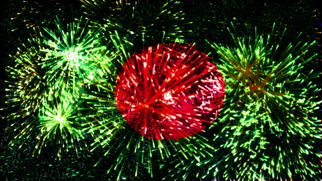 firework display flag of bangladesh - flag of bangladesh stock videos & royalty-free footage
