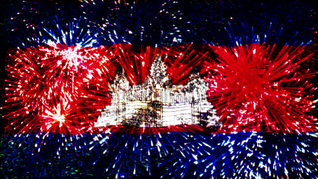 firework display flag of cambodia - cambodia stock videos and b-roll footage