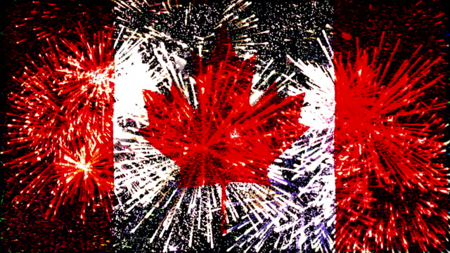firework display flag of canada - traditionally canadian stock videos & royalty-free footage