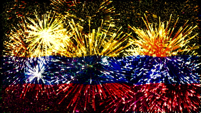 firework display flag of colombia - colombia stock videos & royalty-free footage