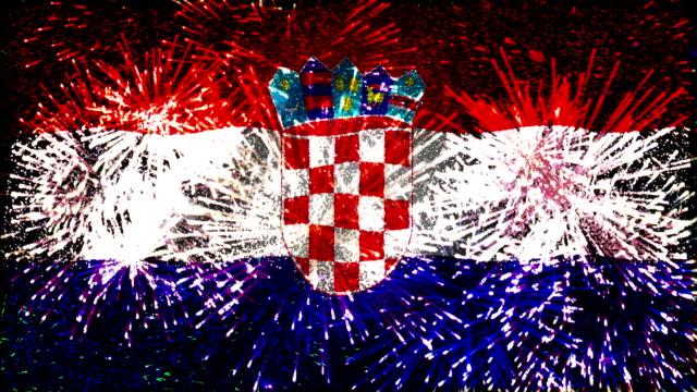 feuerwerk flagge von kroatien - ländliches motiv stock-videos und b-roll-filmmaterial