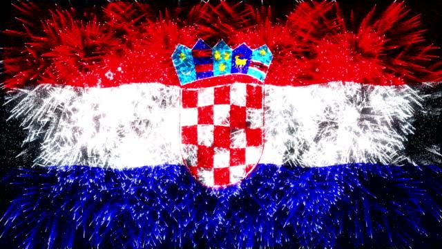 vidéos et rushes de feu d'artifice du drapeau de la croatie - papier peint