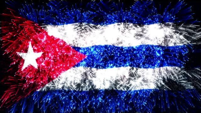 feuerwerk flagge von kuba - kuba stock-videos und b-roll-filmmaterial