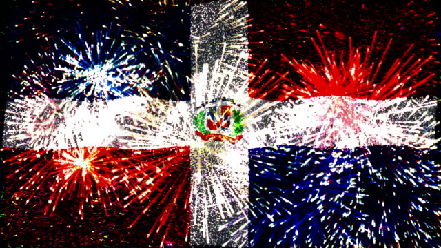 firework display flag of dominican republic - dominican republic stock videos and b-roll footage