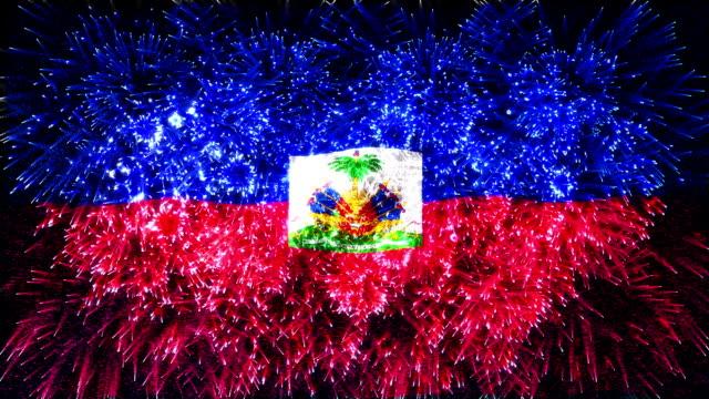 stockvideo's en b-roll-footage met vuurwerk vlag van haïti - haïti