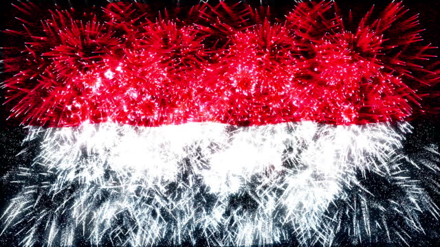 firework display flag of indonesia - indonesia flag stock videos & royalty-free footage