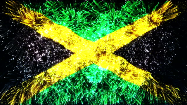 firework display flag of jamaica - jamaica stock videos and b-roll footage