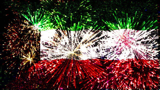 firework display flag of kuwait - public celebratory event stock videos & royalty-free footage
