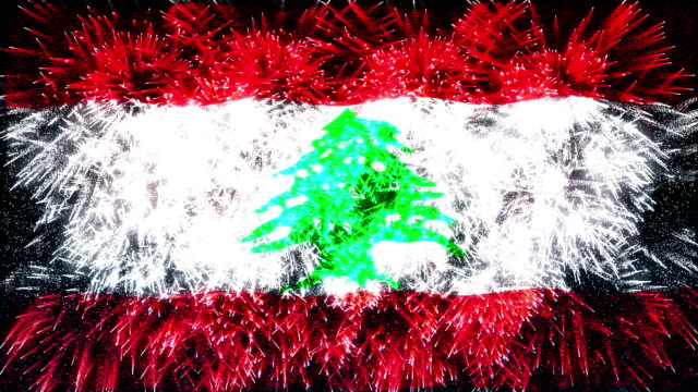 firework display flag of lebanon - lebanon country stock videos & royalty-free footage