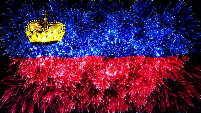 Feuerwerk Flagge der Liechtenstein