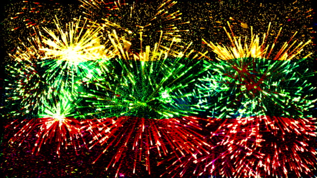 firework display flag of lithuania - lithuania stock videos and b-roll footage
