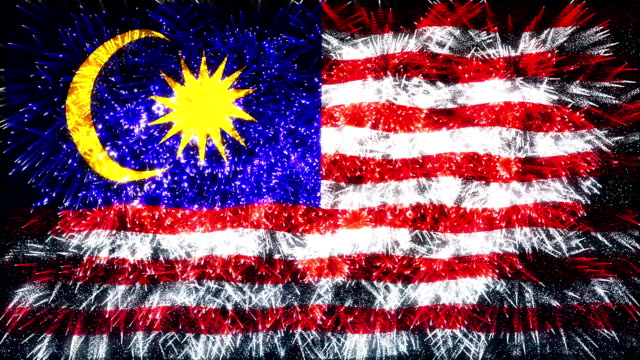 firework display flag of malaysia - malaysia stock videos and b-roll footage