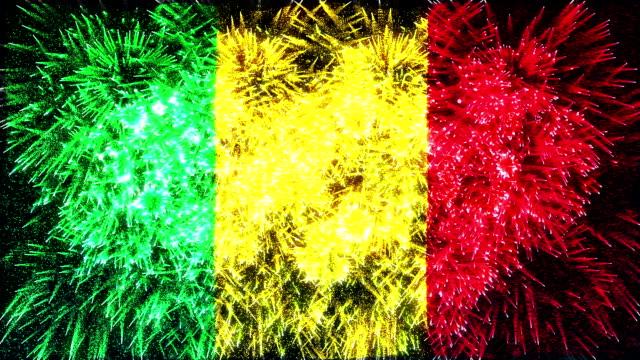vídeos de stock e filmes b-roll de fogo de artifício bandeira de mali - old illustration