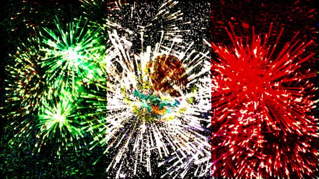 Fuegos artificiales bandera de México