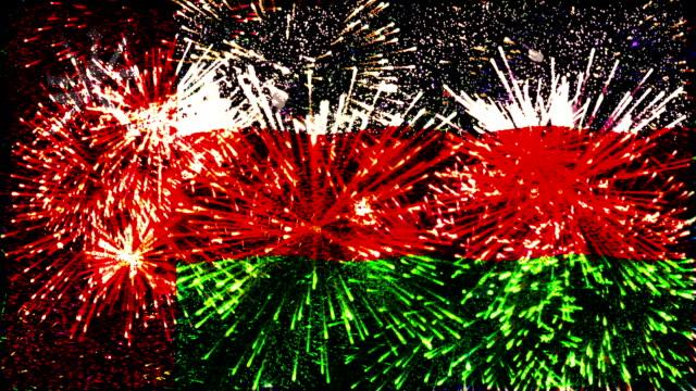 firework display flag of oman - oman flag stock videos and b-roll footage