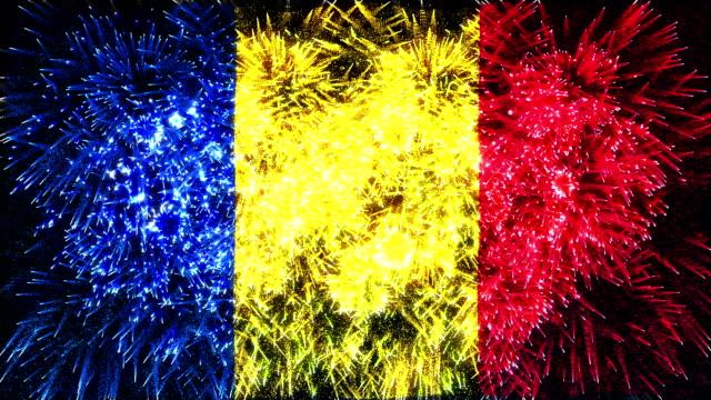 vidéos et rushes de feu d'artifice drapeau de la roumanie - romania
