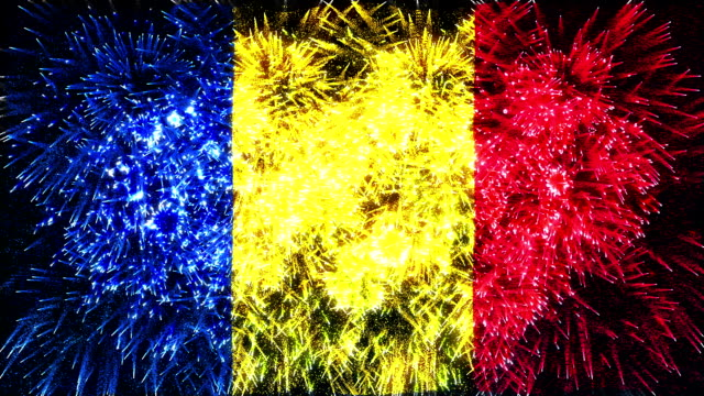 Feu d'artifice drapeau de la Roumanie
