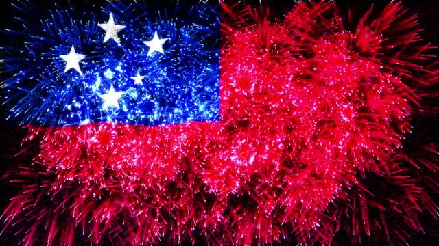 firework display flag of samoa - samoa stock videos & royalty-free footage