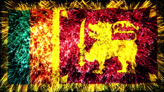 stockvideo's en b-roll-footage met vuurwerk weergegeven vlag van sri lanka - sri lankaanse cultuur