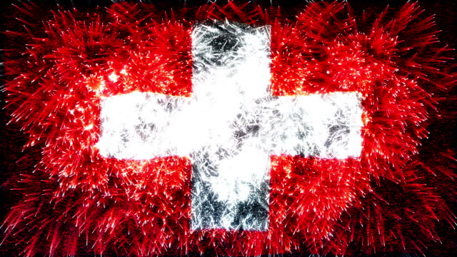 firework display flag of Switzerland
