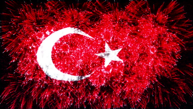 firework display flag of turkey - animal markings stock videos & royalty-free footage