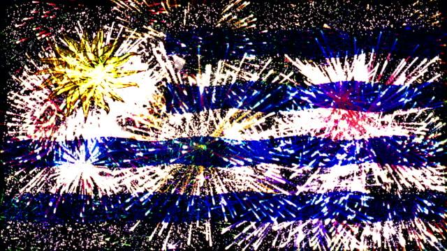 fuochi d'artificio bandiera dell'uruguay - identità video stock e b–roll