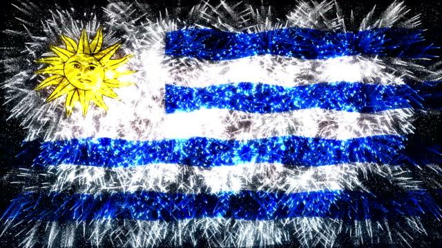 Fuochi d'artificio Bandiera dell'Uruguay