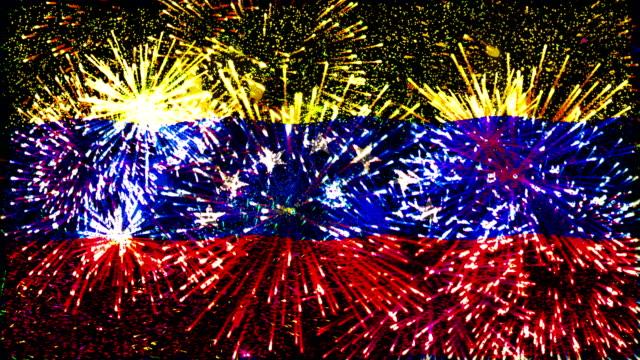 vídeos y material grabado en eventos de stock de fuegos artificiales bandera de venezuela - venezuela