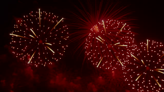 firework display for 4th of july, festival, anniversary , celebration - firework explosive material stock videos & royalty-free footage