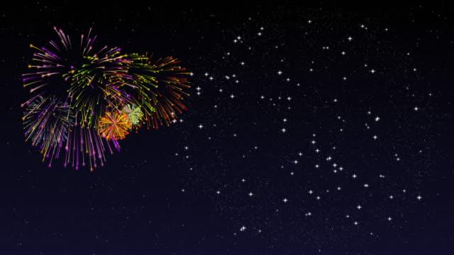 vídeos de stock, filmes e b-roll de exposição do firework com espaço da cópia - imagem a cores