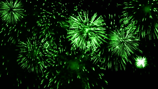4k firework green background - green color stock videos & royalty-free footage