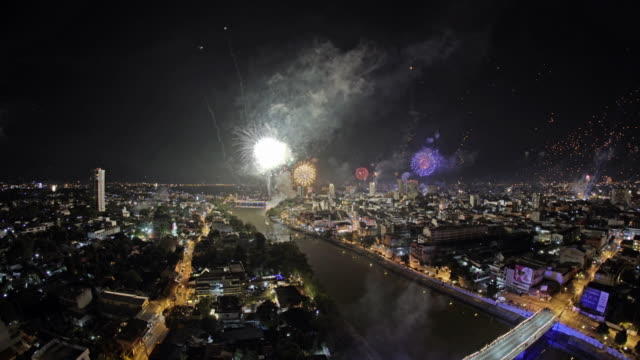 firework in chiang mai thailand - new year's eve stock videos & royalty-free footage