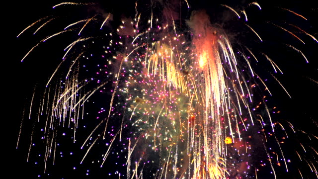 firework in the night sky - firework display stock videos & royalty-free footage